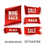 set of five red  realistic ... | Shutterstock .eps vector #557444785
