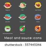 icons of pizza ingredients.... | Shutterstock .eps vector #557445346