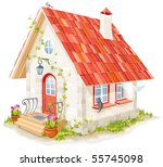 little fairy house with a tiled ... | Shutterstock .eps vector #55745098