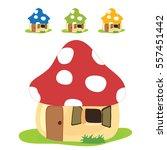 Mushroom House Vector...