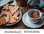 plate with tasty christmas... | Shutterstock . vector #557453956