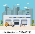 vector  warehouse building flat ... | Shutterstock .eps vector #557465242