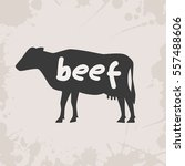 cow silhouette with text | Shutterstock .eps vector #557488606