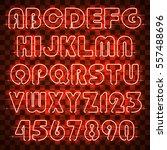 glowing orange neon alphabet... | Shutterstock .eps vector #557488696