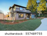 new construction home exterior... | Shutterstock . vector #557489755
