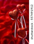 valentines day. red hearts on... | Shutterstock . vector #557491912