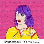 pop art surprised woman face... | Shutterstock .eps vector #557494612