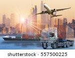 world wide cargo transport or... | Shutterstock . vector #557500225