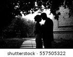 black and white photo of groom... | Shutterstock . vector #557505322