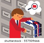 clerk opens a cabinet looking...   Shutterstock .eps vector #557509666