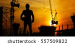 construction site at sunset | Shutterstock . vector #557509822