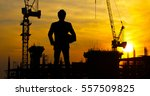 construction site at sunset | Shutterstock . vector #557509825