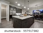 Stock photo modern open plan gray kitchen features dark gray cabinets paired with granite countertops open 557517382