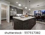 modern open plan gray kitchen... | Shutterstock . vector #557517382