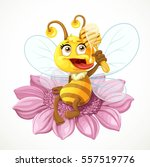 cute bee sitting on pink flower ... | Shutterstock .eps vector #557519776