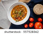 thick soup with vegetables and... | Shutterstock . vector #557528362