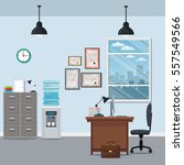 office workspace chair desk... | Shutterstock .eps vector #557549566