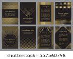 flyers with patterns in gold... | Shutterstock .eps vector #557560798