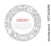 cricket banner with line icons... | Shutterstock .eps vector #557562898