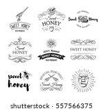 honey labels set. vintage...   Shutterstock .eps vector #557566375