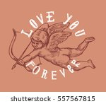 valentines day cupid drawing... | Shutterstock .eps vector #557567815