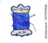 old cardboard spool of thread.... | Shutterstock . vector #557595406