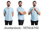 handsome man with his arms... | Shutterstock . vector #557616742