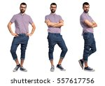man with glasses with his arms... | Shutterstock . vector #557617756