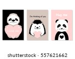 greeting cards set   cute... | Shutterstock .eps vector #557621662