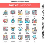vector set of online education... | Shutterstock .eps vector #557629636