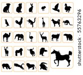 Stock vector animal silhouettes set 55763296