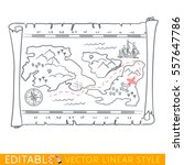pirate map of the treasure. | Shutterstock .eps vector #557647786