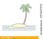 small island with palm tree.... | Shutterstock .eps vector #557647972