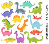 cartoon cute dinosaurs vector. | Shutterstock .eps vector #557648398