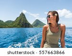 happy woman cruising towards... | Shutterstock . vector #557663866