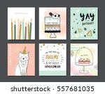 set of birthday greeting cards | Shutterstock .eps vector #557681035