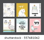 set of birthday greeting cards | Shutterstock .eps vector #557681062