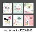 set of birthday greeting cards | Shutterstock .eps vector #557681068