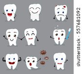 cute tooth cartoon collection... | Shutterstock . vector #557681092