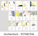 calendar 2017 with hand drawn... | Shutterstock .eps vector #557681536