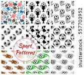 sport seamless patterns of... | Shutterstock .eps vector #557703952
