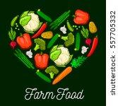 farm vegetables and veggies... | Shutterstock .eps vector #557705332