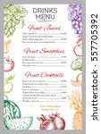 fresh fruit drinks or juices... | Shutterstock .eps vector #557705392