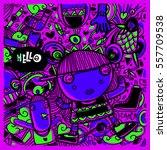 vector hand drawn of doodle... | Shutterstock .eps vector #557709538