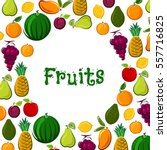 fresh fruits harvest poster.... | Shutterstock .eps vector #557716825