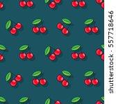 cherry  seamless vector pattern ... | Shutterstock .eps vector #557718646