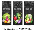 vegetables banners of healthy... | Shutterstock .eps vector #557723596