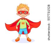 comic brave boy in superhero... | Shutterstock .eps vector #557731528