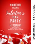 red paty flyer for valentine's... | Shutterstock .eps vector #557739202