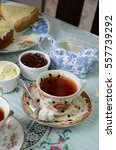 english tea time with bakery. | Shutterstock . vector #557739292